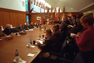 911:  President George W. Bush Meets with National Security Council at Camp David 09/15/2001.