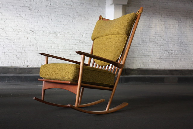 remarkable danish modern mid century teak rocker rocking chair