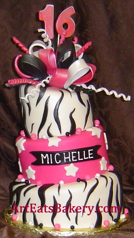 Three Tier Zebra Stripe Black White And Hot Pink Custom Fondant Mad Hatter Sweet 16 Birthday Cake