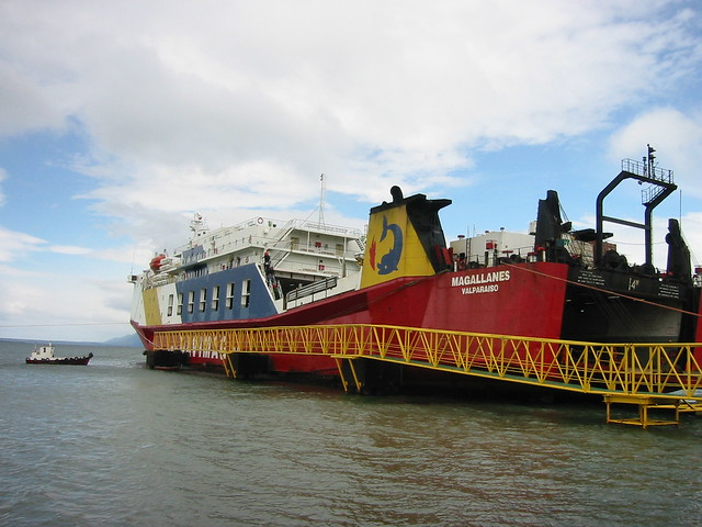 Our Navimag ferry, docked in Puerto Natales