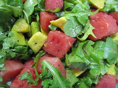 meal, watermelon, spinach salad, salad, vegetable, produce, fruit, food, dish, cuisine,