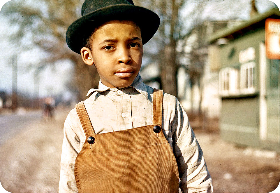 Black Little Boy In or Around Cincinnati, Ohio - circa 1942