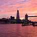 Pink and orange sunset over Tower Bridge and The Shard on River Thames, London