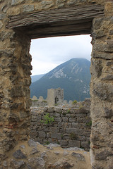 Looking out of donjon window to south tower, Puilaurens - Photo of Counozouls