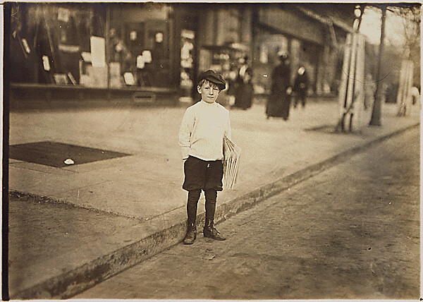 Photograph of William Lerch, 7 year old news-boy who sells for his brother., 04/15/1912