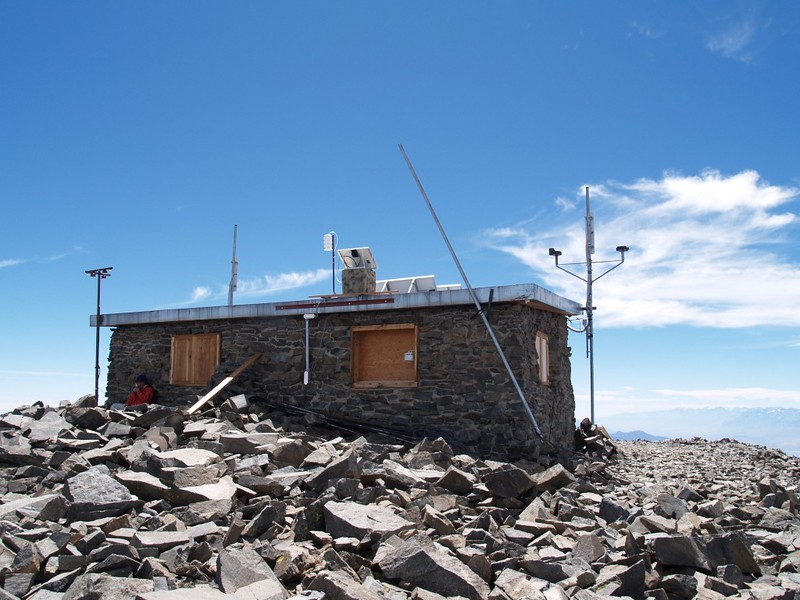 View of the back (north) side of the summit hut on White Mountain Peak.