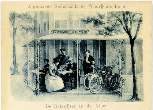 'The Travel guide and the atlas', 1890s postcard, published by the Dutch ANWB