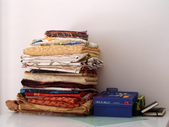 A stack of new fabrics