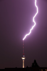 Lightning strikes the TV Tower