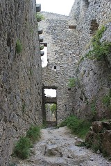 Looking along from the entrance to the donjon, Puilaurens
