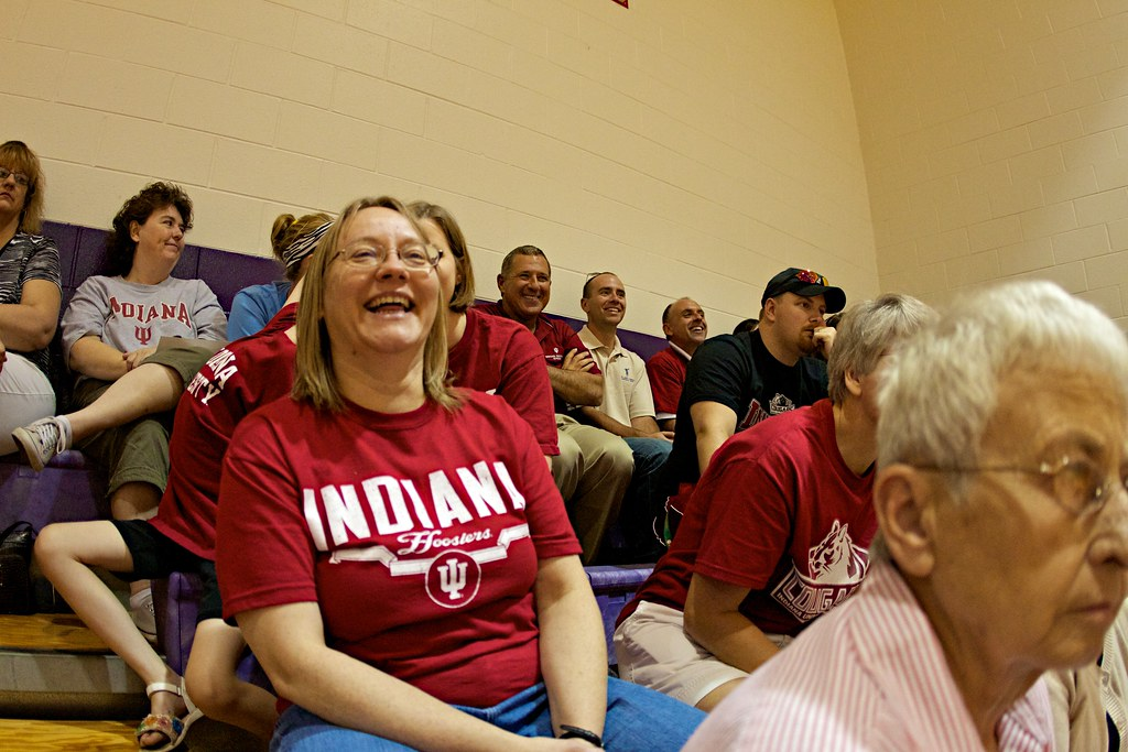 Associate Professor of Psychology and Department Chair Angela Becker enjoys an IU Kokomo volleyball match