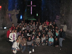 One of our groups front of the biggest cross into salt cathedral
