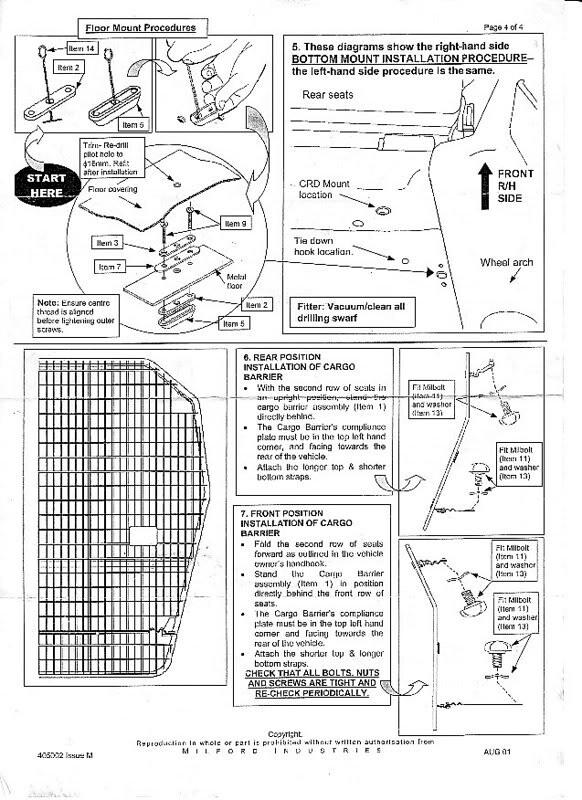 Fitting instructions for gu milford cargo barrier patrol