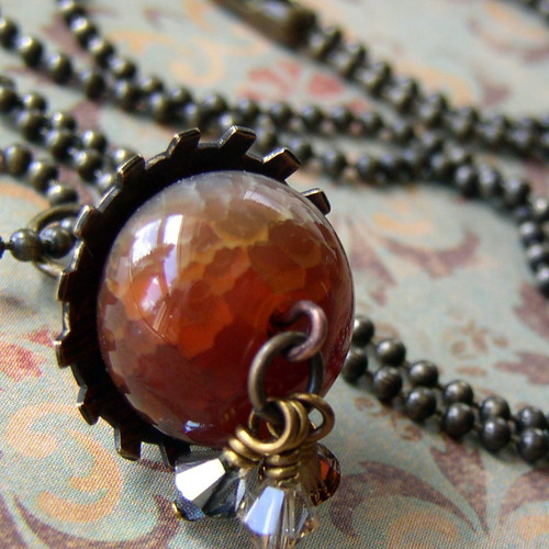Acorn Stamped and Domed Metal Necklace