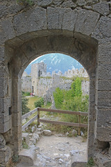 Looking out from the entrance to the donjon, Puilaurens