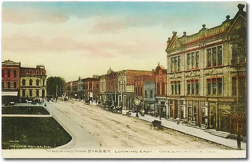 horses people woman usa signs man color men history buildings walking advertising awning clothing women shoes indiana streetscene transportation drugs shops pedestrians storefronts buggy clocks buggies greencastle businesses wagons jeweler putnamcounty hoosierrecollections vonepageqffalse