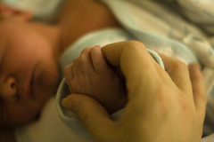 Holding Hands With a Newborn Baby