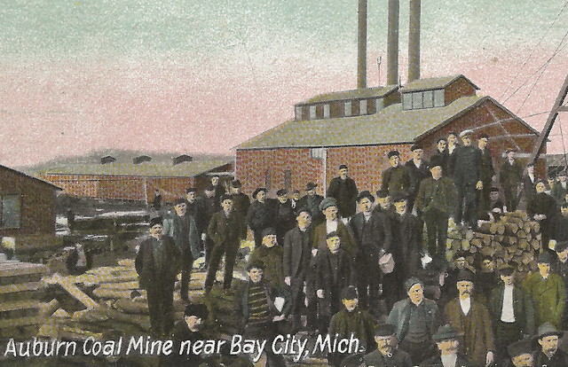 COAL Michigan Mining History Bay City MI Miners at Auburn Coal Mine Shaft Rock House German Printed near Midland MI Unsent Card 62381