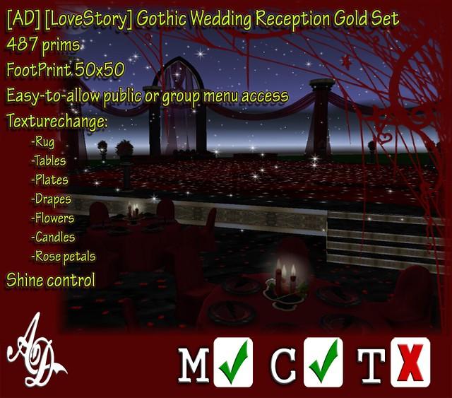 AD LoveStory Gothic Wedding Reception Gold Set Promo
