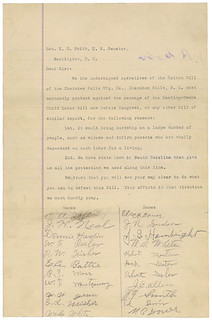 Letter from Operatives of Cherokee Falls Manufacturing Company Cotton Mill in Opposition to Keating-Owen Child Labor Bill, 01/18/1916