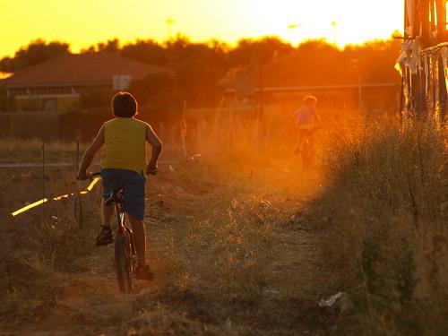 Bicicletas al atardecer.