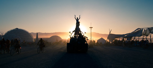 Esplanade at sundown, Burning Man 2011