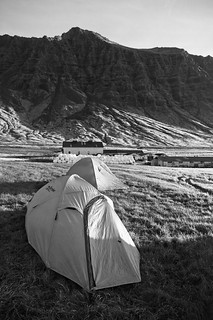 Farm campsite with cliffs (B&W)