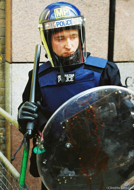 Bloodied riot shield, London, 1999