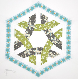 Hexagon Ring Quilt Block for the 4x5 Modern Bee; toerintx