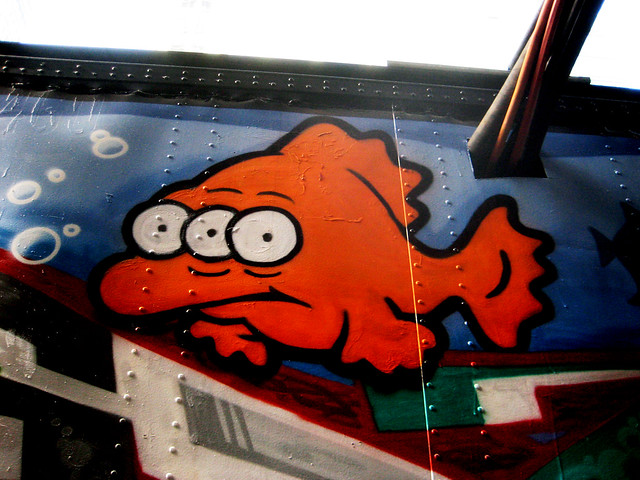 Blinky three eyed mutant gold fish simpsons graffiti art for Blinky the fish
