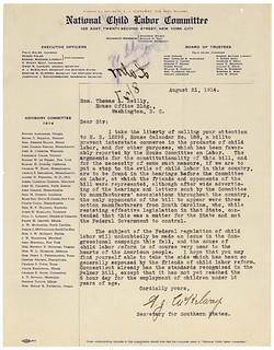 Letter from National Child Labor Committee Regarding Child Labor Reform, 08/21/1914