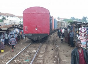 A train rolls through Kibera