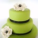 Green Cake with Black and White Flowers