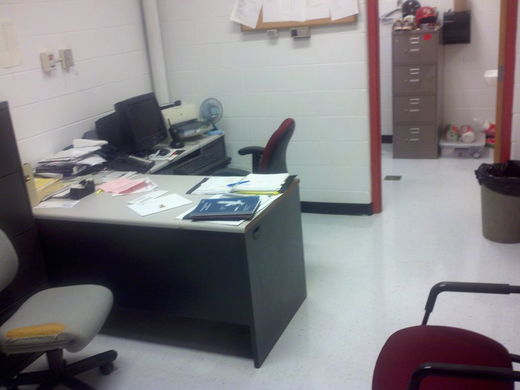 I was once told by a smart aleck coach to take a picture of his office to know what it looked like clean, well I did.