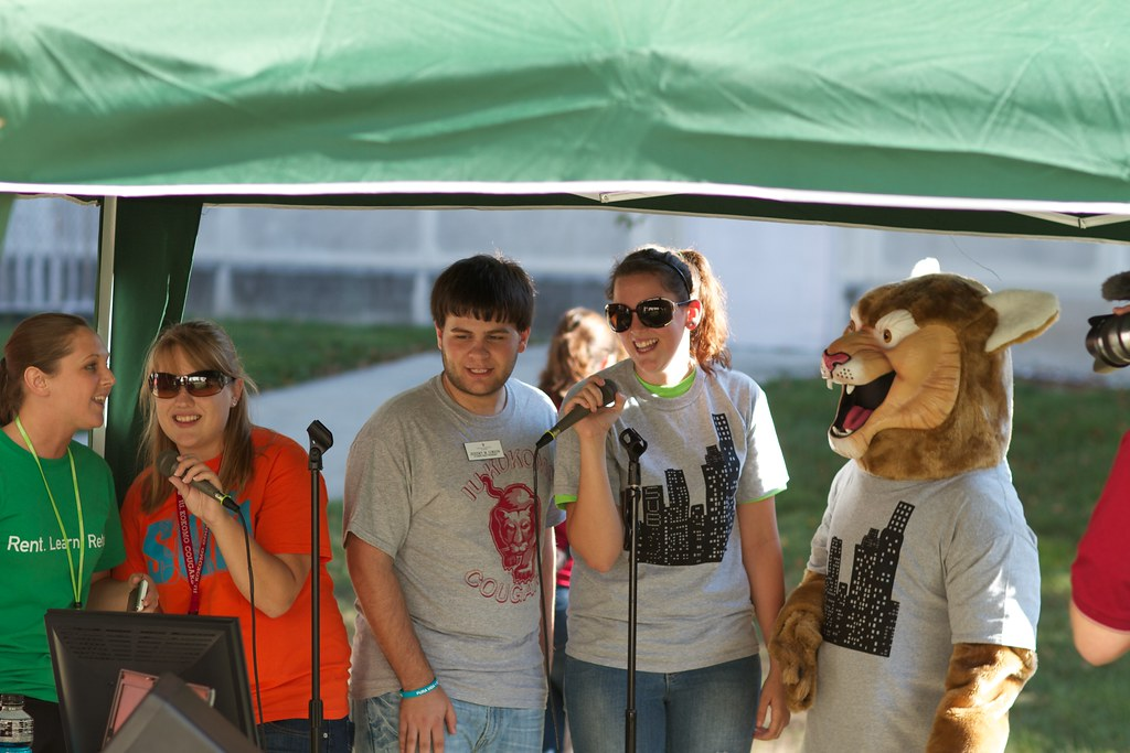 Psychology students perform karaoke at the 2011 Campus BBQ