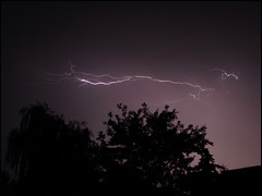Lightning crosses the sky