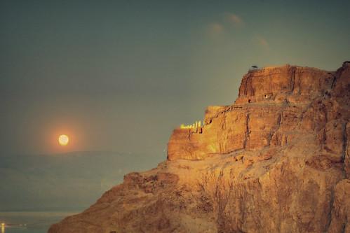 Masada Herod's Palace Moonrise