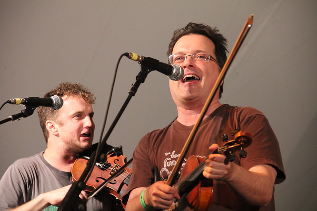 Violet Femmes' Gordon Gano with the Lost Bayou Ramblers at the 2011 Chile Pepper Fiesta. Photo by Rebecca Bullene.
