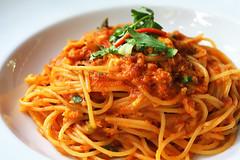 vegetable(0.0), produce(0.0), spaghetti alla puttanesca(1.0), vegetarian food(1.0), bucatini(1.0), spaghetti(1.0), pasta(1.0), spaghetti aglio e olio(1.0), pasta pomodoro(1.0), bolognese sauce(1.0), naporitan(1.0), pici(1.0), food(1.0), dish(1.0), european food(1.0), capellini(1.0), carbonara(1.0), cuisine(1.0),