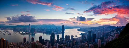 city sunset sky cloud sunrise landscape hongkong harbour magic peak magicmoment