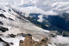 Glaciers falls into Chamonix valley