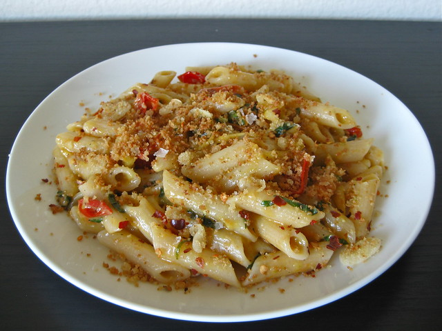 Cherry Tomato Penne with Fried Garlic Breadcrumbs