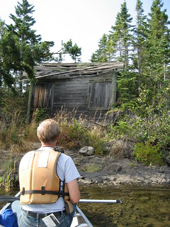 Old cabin on island in Tobin Harbor, Isle Royale National Park, Rock Harbor, Michigan