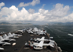 SOUTH CHINA SEA (Aug. 12, 2011) The aircraft carrier USS Ronald Reagan (CVN 76) transits toward Hong Kong for a port visit. (U.S. Navy photo by Mass Communication Specialist 2nd Class Kevin B. Gray)