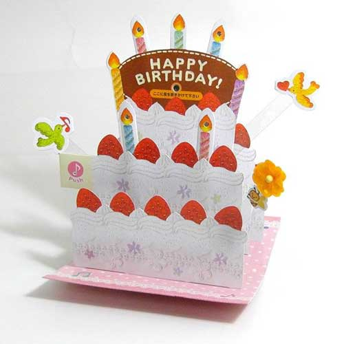 Birthday Cake Pop Up Light Melody Greeting Cards Blow Out Candle