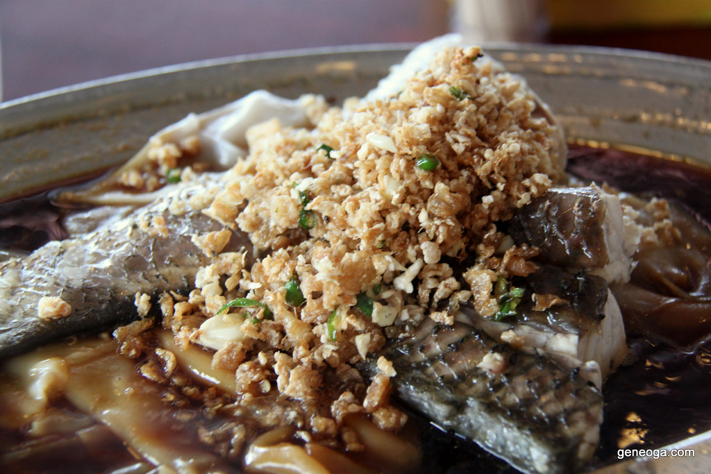 Steamed fish with 'hor fun'