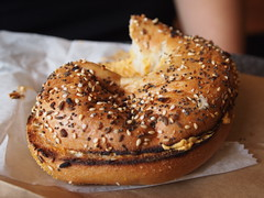 meal(0.0), produce(0.0), breakfast(1.0), baking(1.0), bread(1.0), whole grain(1.0), baked goods(1.0), food(1.0), dish(1.0), dessert(1.0), bagel(1.0),
