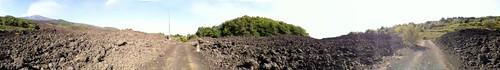 Etna lava flow panorama