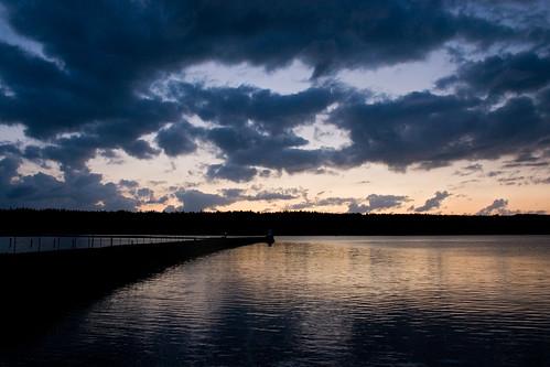 sunset lake water clouds evening pier bluehour vänern vänersborg skräckleparken
