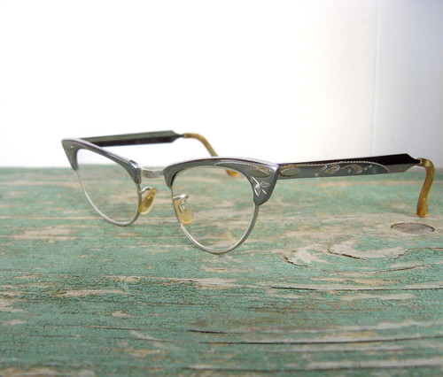 1950s etched aluminum cat's eye eyeglasses, by Shuron